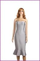 sexy wholesale mermaid bandage maxi knee length grey color evening dress