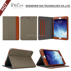 2015 Hot selling back stand PU and jeans case for ipad mini 3
