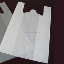 Plain white plastic t-shirt bags retail shopping bag