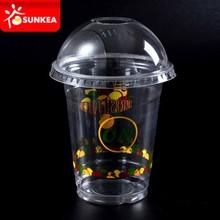 Impreso personalizado transparente claro vaso plástico desechable con tapa