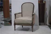 Hot início estilo francês sofá da tela cadeira sala de estar monolugares chique gasto sofá cadeira