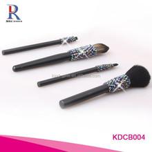 Black Rod Makeup Brush Cosmetic Set Kit with rhinestone