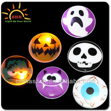China Factory Wholesale Fashion Round Shaped Led Light Up Badge for Halloween