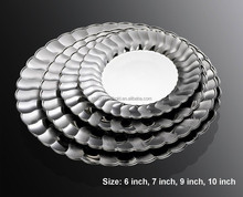 Disposable dinner plate,Plastic plates Silver Coated,,Plastic silver plate For Party