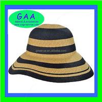 Fashion hat / striped ladies straw beach hat