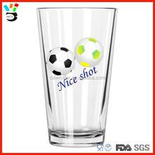 """Nice Shot"" 16oz transparent football printing sports glass cup"