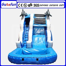 2015 new design adult size outdoor water park dolphin inflatable water slides with pool