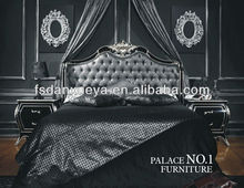 Luxury black high back designer Indonesian Bedroom Sets Furniture Rococo Bed DXY-28#