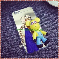 Luxury mirror tpu case with cartoon pendant for iphone6