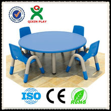 China cheap price round plastic table and chair set for kids/desk/prescholl furniture/baby furniture QX-B7003