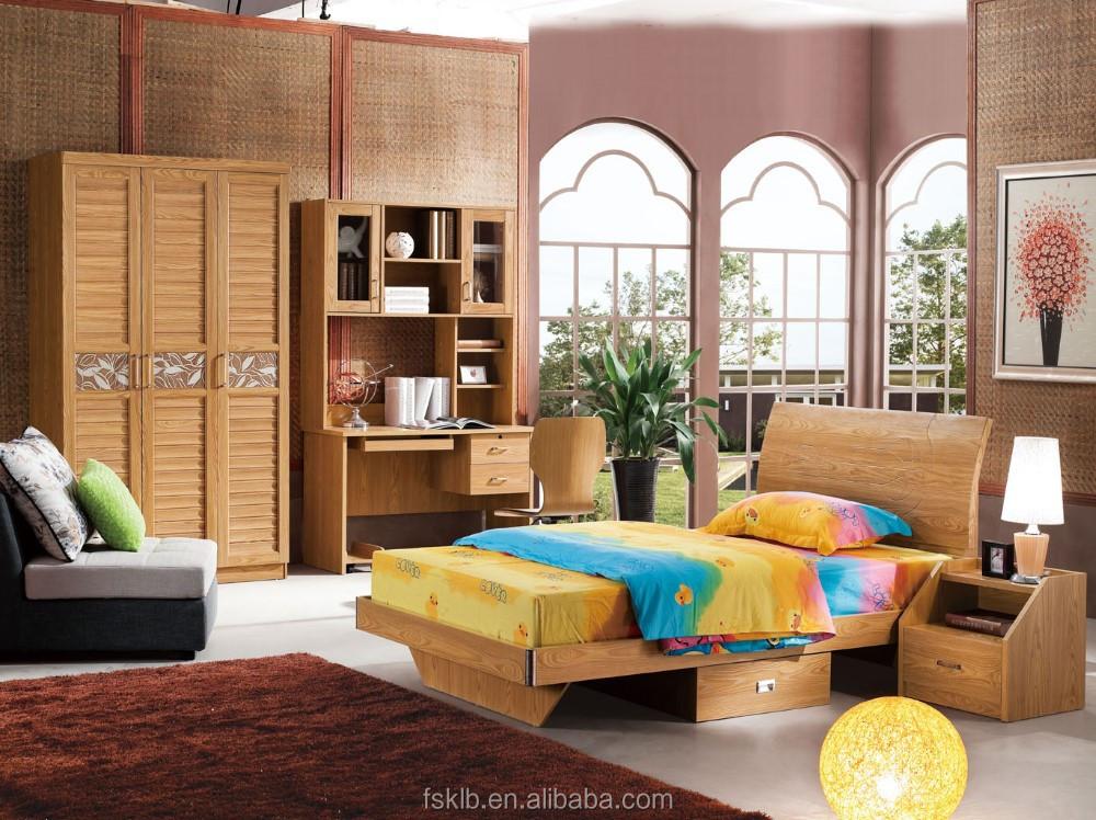 foshan factory wholesale teak colour kids bedroom furniture sets cheap