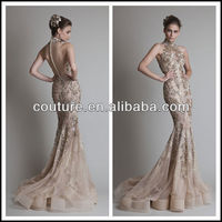 elegent high class lace beaded high neck mermaid evening dress TM653 lebanon designer evening dresses