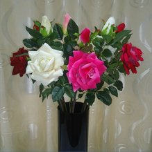 2012 New Artificial 2 Heads large edge curl Rose Flowers