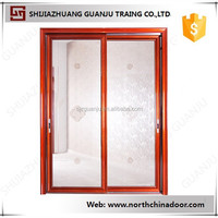 Decorative Double Leaf Interior Wood Doors Frosted Glass Door