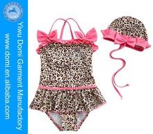 Print leopardo lindo chica de la princesa del traje de baño de una pieza del traje de baño los niños