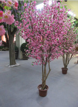 250 cm Artificial peach tree with real wood trunk