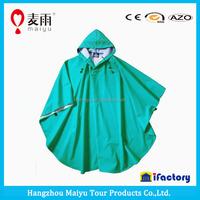 Maiyu unisex durable 100% waterproof adult pattern raincoat hooded,polyester rain poncho