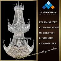 Chrome trapezoidal shape crystal lace crystal ball bottom large hotel chandelier