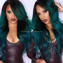 Ombre 1b green body wave brazilian human hair lace front wigs with bangs
