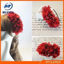 Red handmade flower thin metal hair band headband