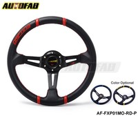 AUTOFAB - Universal 350mm Car Auto Racing Steering Wheel PU + Horn Button Auto Blue/Yellow Default color: Yellow AF-FXP01MO-YL-P