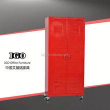 IGO Elegant knocked down steel 2 door cheap wardrobe canvas wardrobe prices/steel godrej cupboard