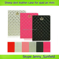 Tablet case sheep skin folio leather case for ipad air mini slim fit
