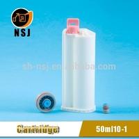 50ml 10:1 PBT Dental pe plastic bottle/cartridge for dual cartridge with mixing tip