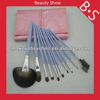 wholesale price 11pcs clear handle makeup brush set,pro blue handle cosmetic brush set,accept OEM
