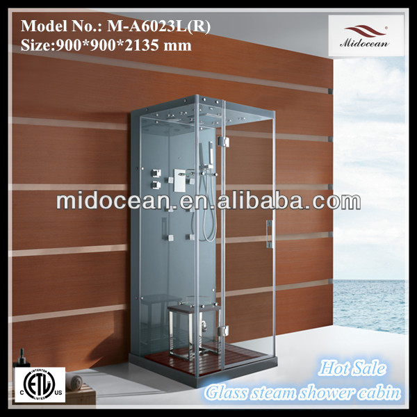 2015 midocean M-A6023 tempered glass silicon free frameless steam shower