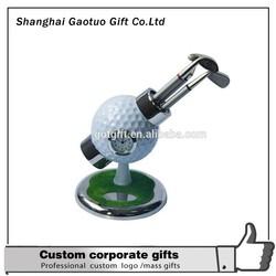 golf pen set golf ball pen holder with 3 Ballpoint Pens with alarm clock