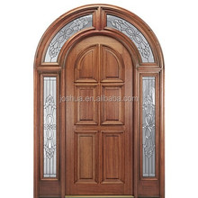 Promotions !!! Radius top mahogany exterior wood entry door with sidelites