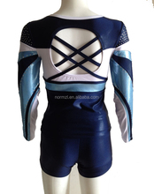 Factory direct sale cheerleading uniforms rhinestones sublimation,top with short dancer cheer uniforms