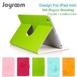 For new ipad mini cases, 360 rotating degree Leather and Bling Crystal case cover for mini ipad