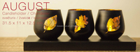 wood black tree leaves glass cup candle holder