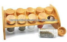 bambu spice rack com vasilha de vidro