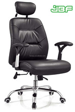 Black leather swivel conference chair with headrest with PP arm -151A#