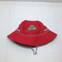 summer folding cotton children bucket hat with string/foldable kids sun hat embroidered/custom folding bucket hat
