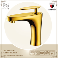 Simple and generous single handle solid brass gold faucet