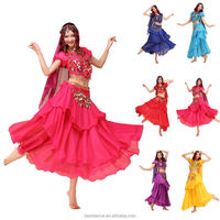 Belly Dance Set Sexy Gold Coins Top & Three Layer Skirt & Sequin Belts & Veil 6 Colors