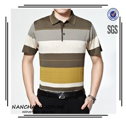 High quality Men Stripe short sleeve Polo-shirt color combination spring tee