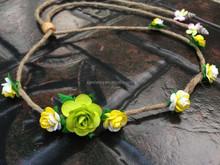 Natural hemp green flower daisy artificial flower crown headband QFHD-2571