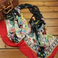 Wholesale soft fashion gift bird print animal chiffon digital printing scarf shawl 160*50cm