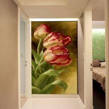2015 ventas calientes europeas pintura mural de estilo floral pasillo de entrada mural no tejido lienzo dormitorio pintura mural