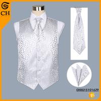Custom Cheap White Men Flower Polyester Mens White Vest