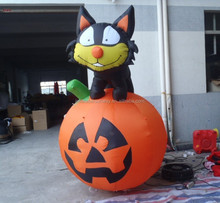 halloween holiday pumpkin with black cat, inflatable pumpkin models for decoration