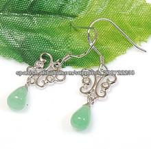 925 mariposa pendientes de jade de plata
