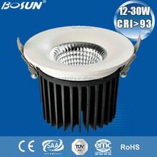White housing,diameter 160,cut out/hole 140mm,175,195,215mm,gimbal,adjustable,dimmable cob 20w 1000lm led downlight