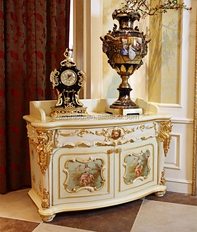 Luxury French Rococo Style Goldleaf Angel Buffet Table