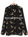ladys venta al por mayor blanco blusa de gasa de impresión de las aves camisas de las mujeres